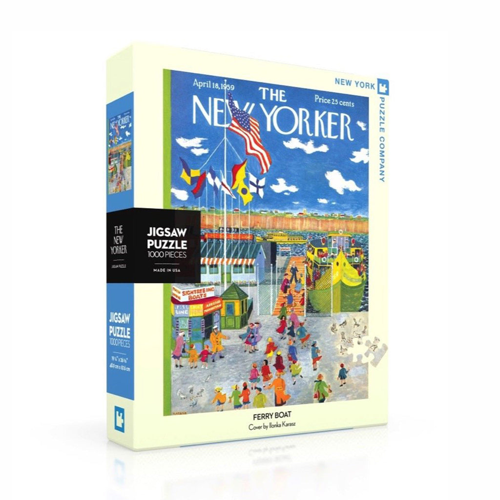 new york puzzle company 1000 piece new yorker cover ferry boat jigsaw puzzle box front angle