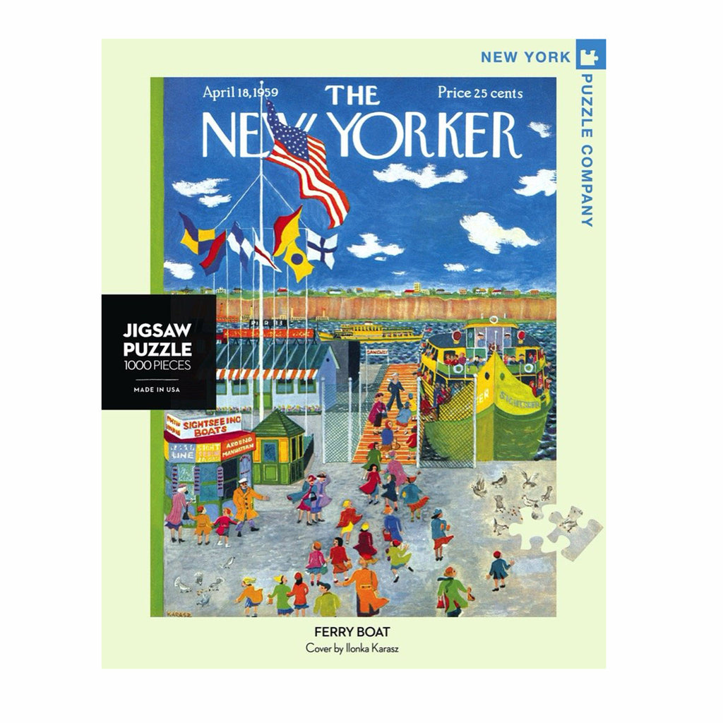 new york puzzle company 1000 piece new yorker cover ferry boat jigsaw puzzle box front