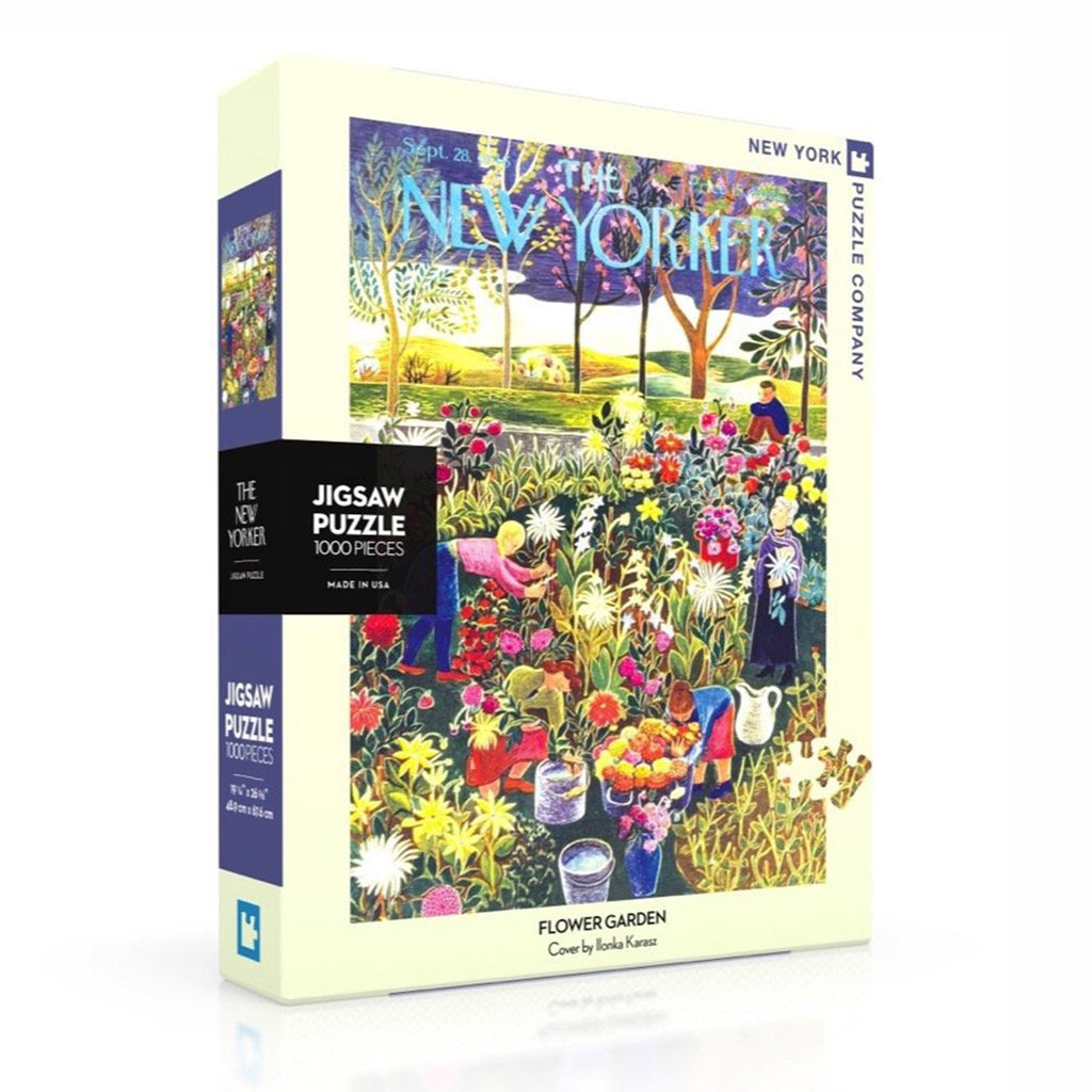 new york puzzle company 1000 piece new yorker cover flower garden jigsaw puzzle box front angle