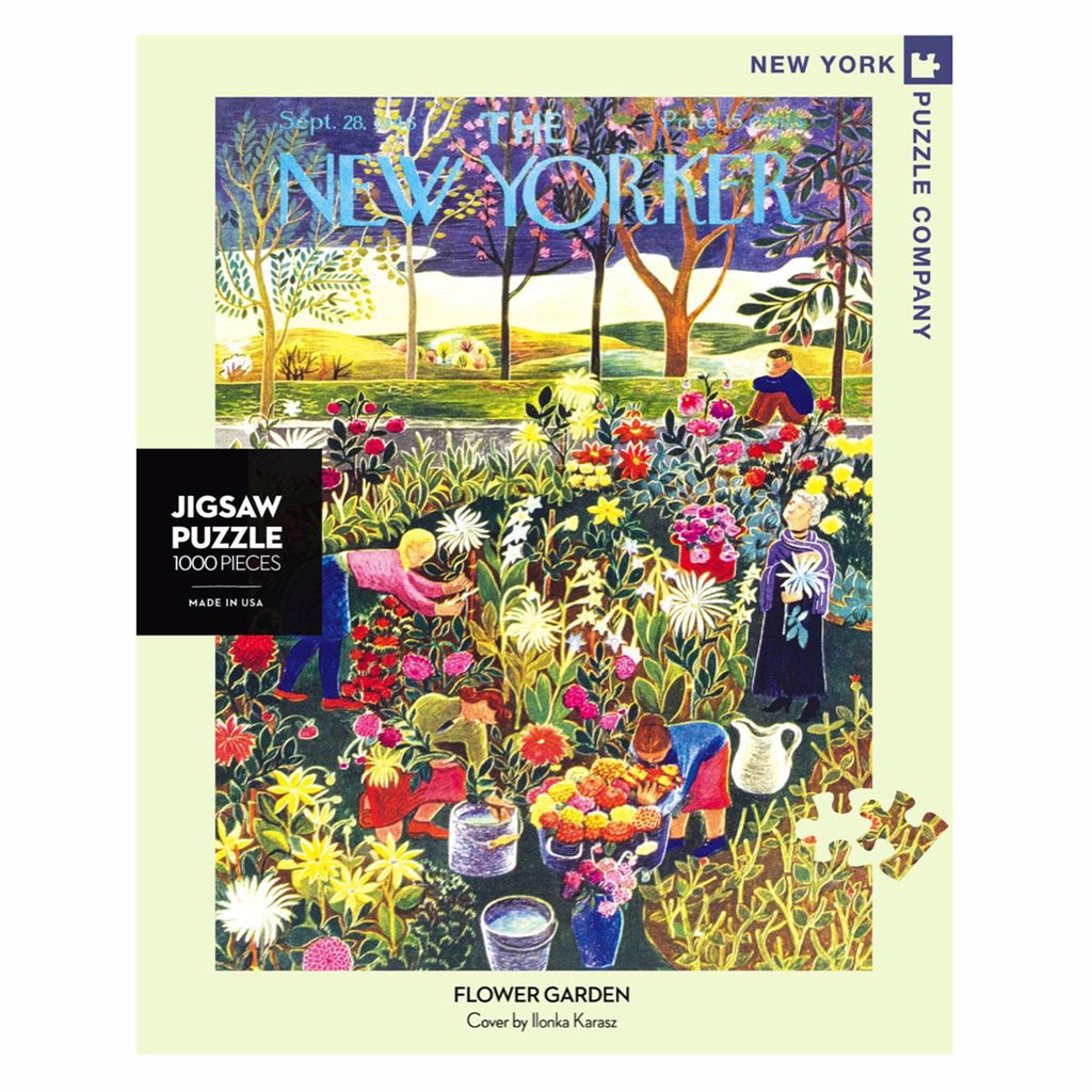 new york puzzle company 1000 piece new yorker cover flower garden jigsaw puzzle box front