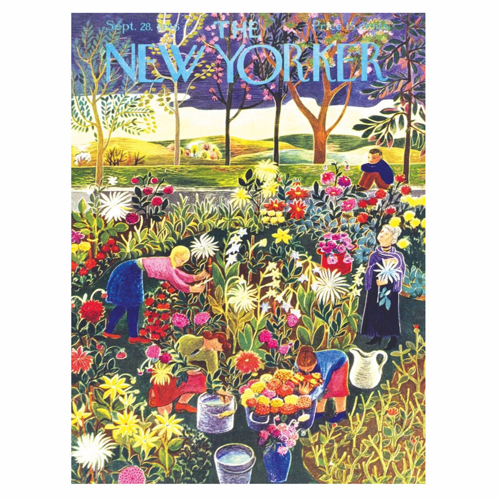 new york puzzle company 1000 piece new yorker cover flower garden jigsaw puzzle original artwork