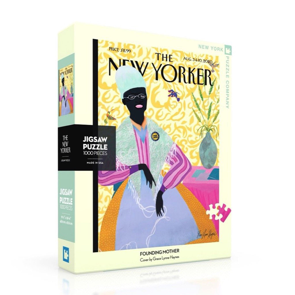 new york puzzle company 1000 piece new yorker cover founding mother jigsaw puzzle box front angle