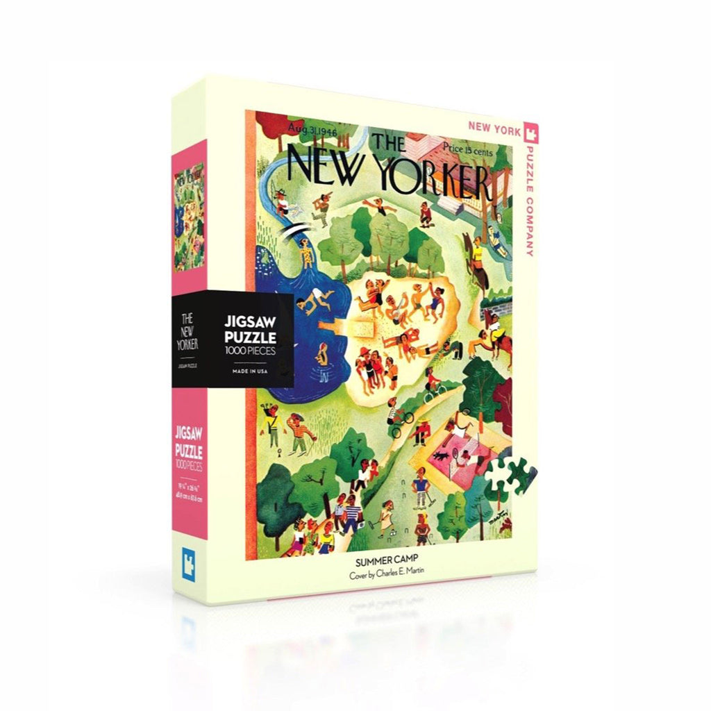 new york puzzle company 1000 piece new yorker cover summer camp jigsaw puzzle box front on angle