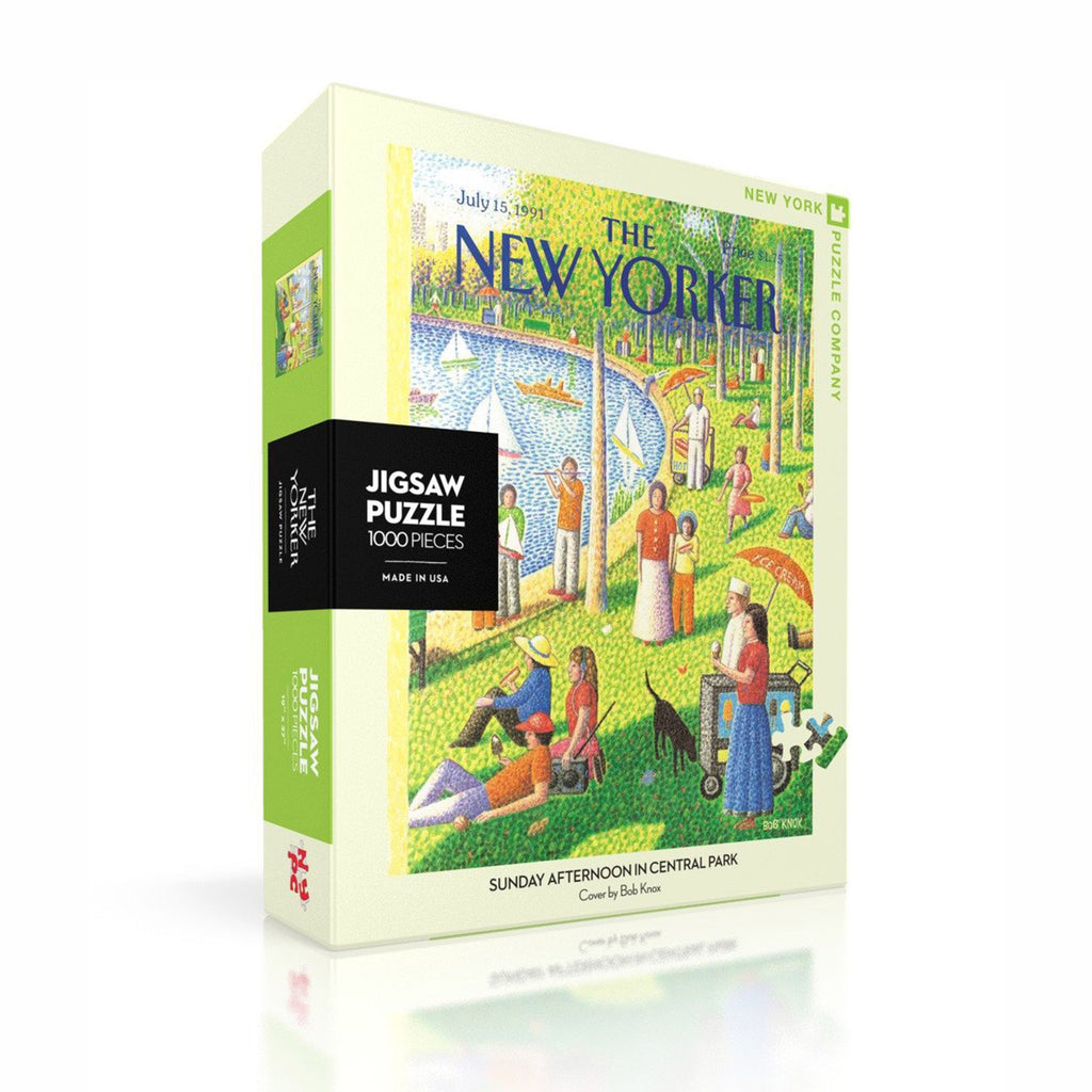 new york puzzle company 1000 piece sunday afternoon in central park new yorker cover jigsaw puzzle box front angle