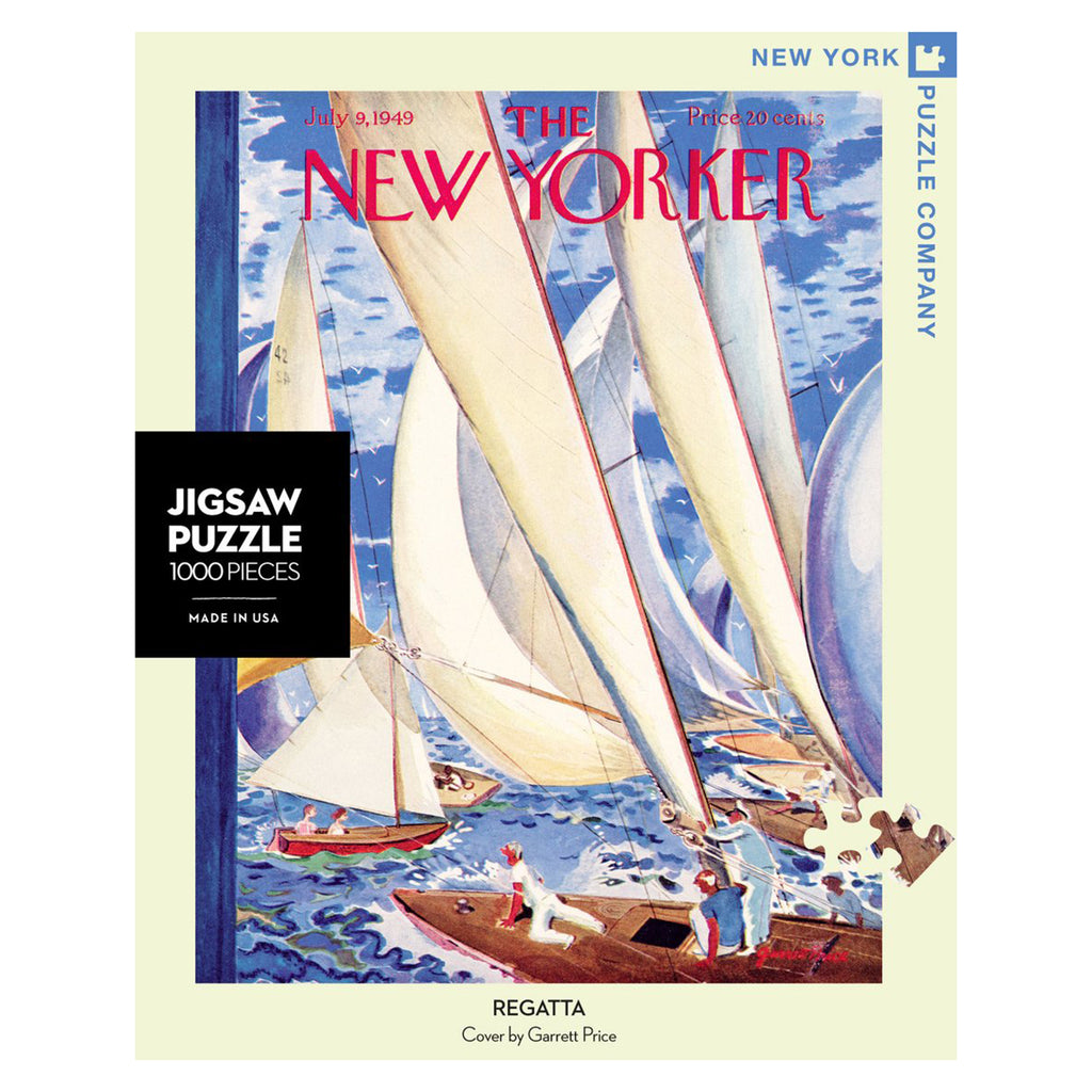 new york puzzle company 1000 piece regatta new yorker cover jigsaw puzzle box front