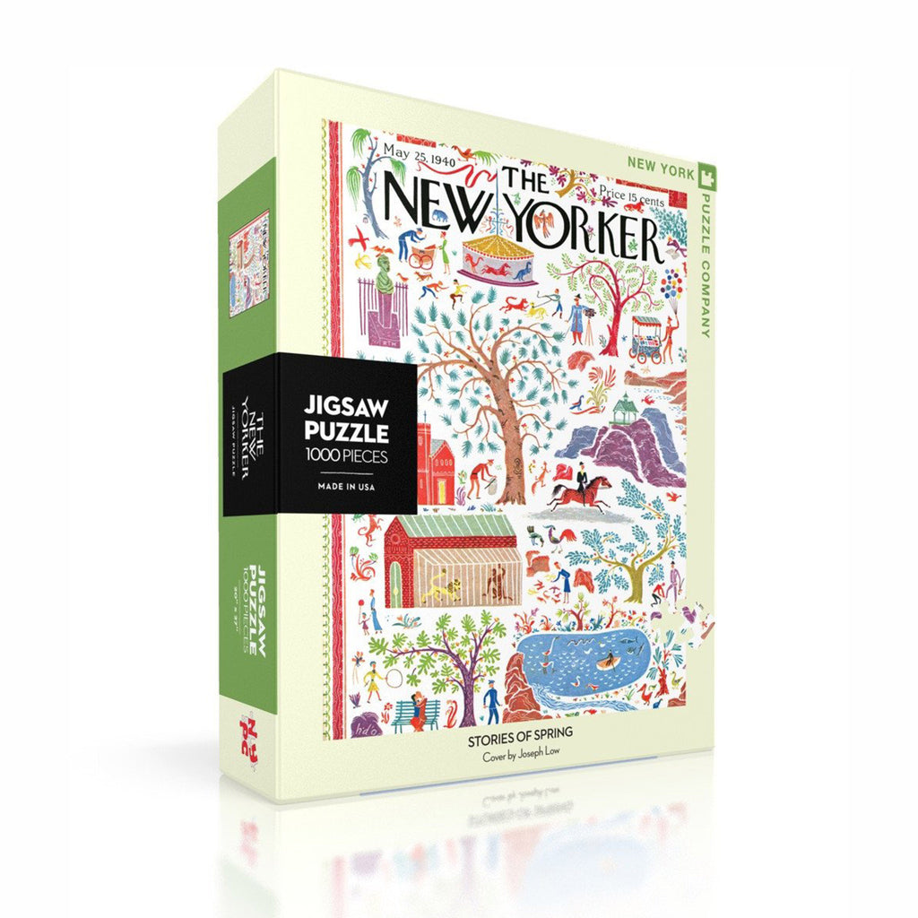 new york puzzle company 1000 piece stories of spring new yorker cover jigsaw puzzle box front on an angle