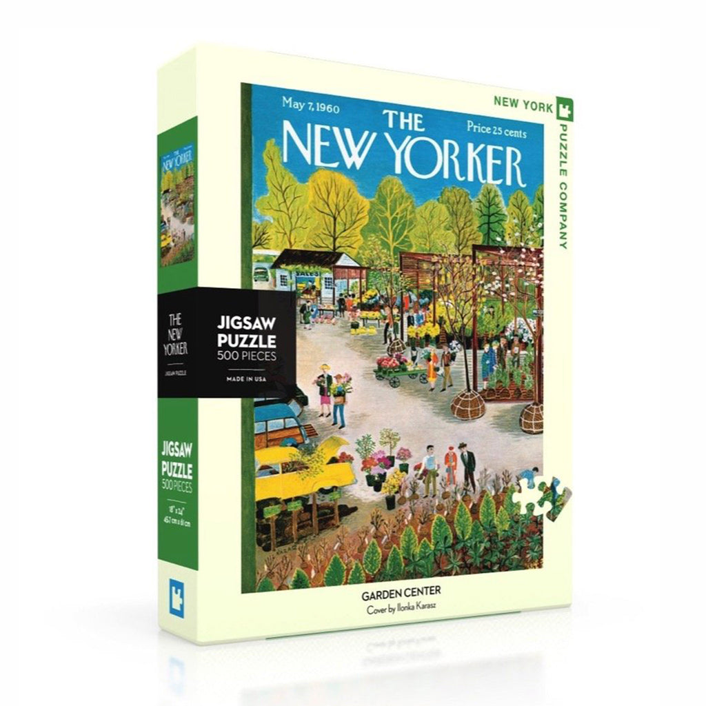 new york puzzle company 500 piece garden center new yorker cover jigsaw puzzle box front angle