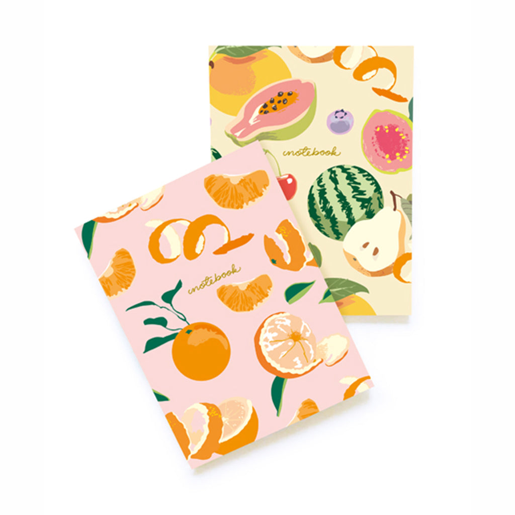 noi publishing set of two fruit soft cover notebooks