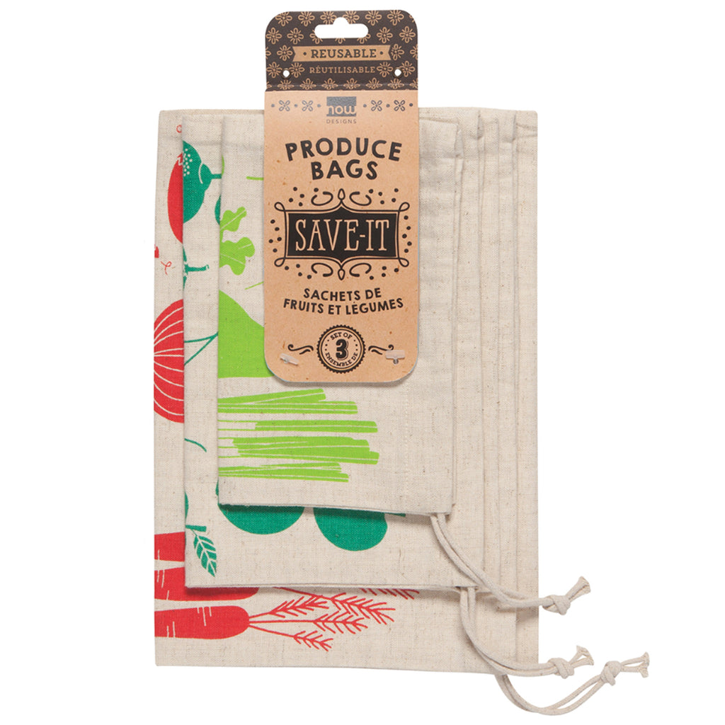 set of 3 cotton reusable produce bags packaging