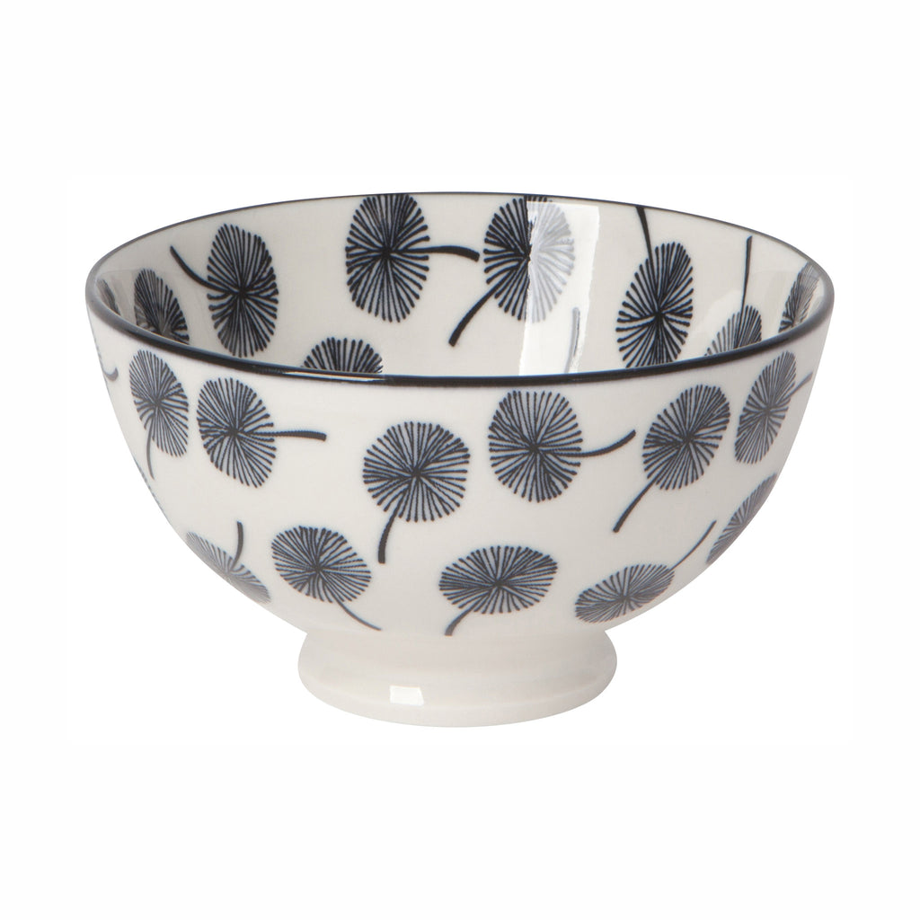 now designs four inch dark gray dandelion stamped pattern on white porcelain bowl