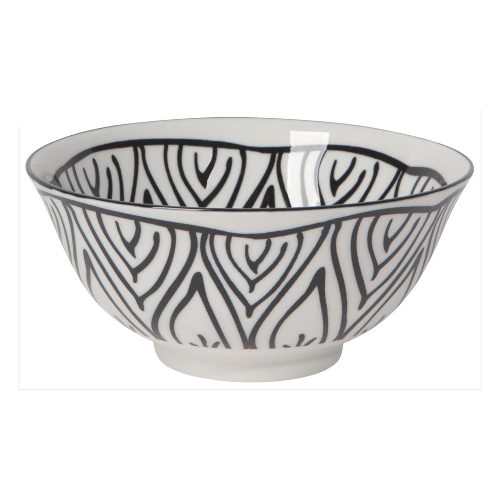 now designs six inch stamped black bloom pattern on white porcelain bowl