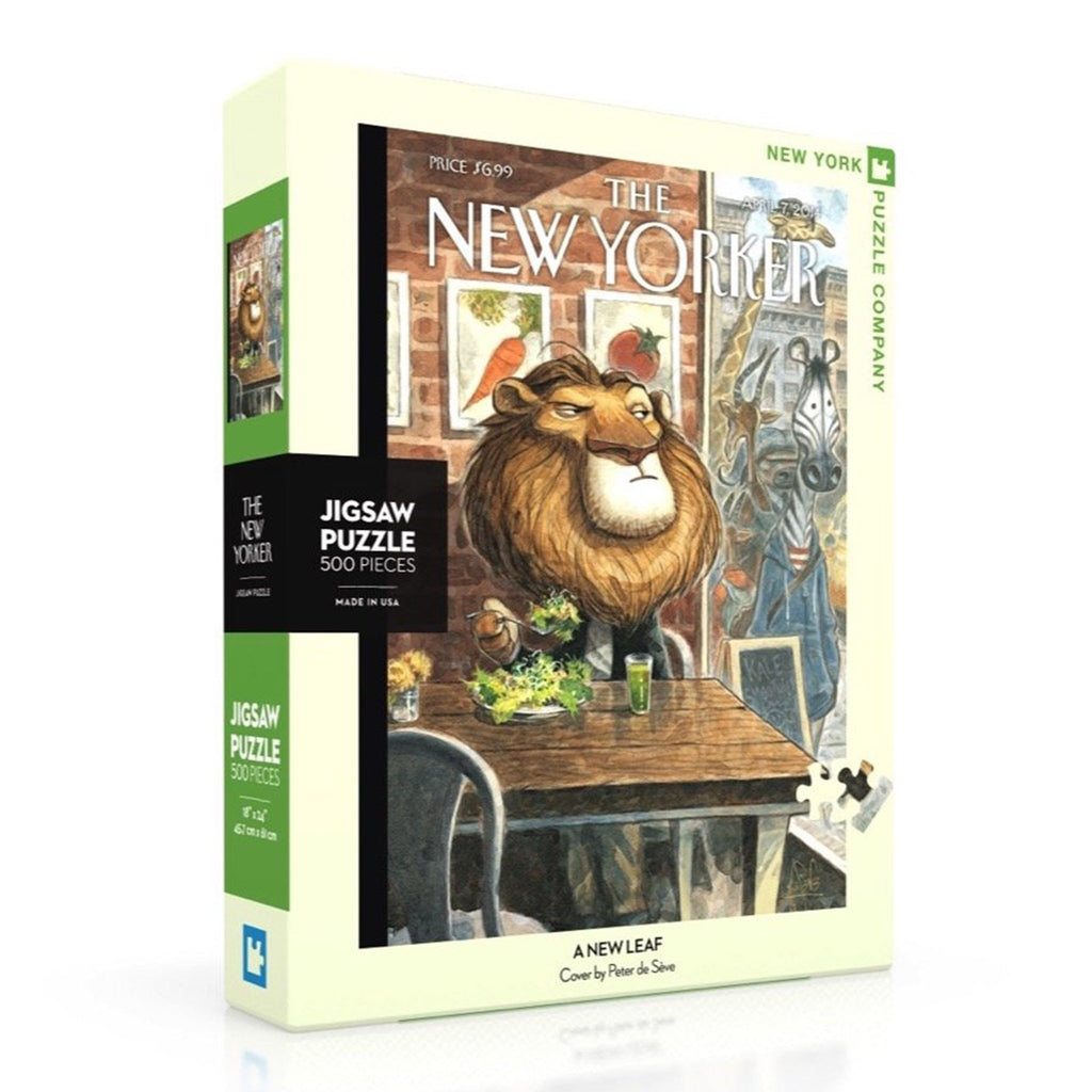 new york puzzle company 500 piece a new leaf new yorker cover jigsaw puzzle box angle