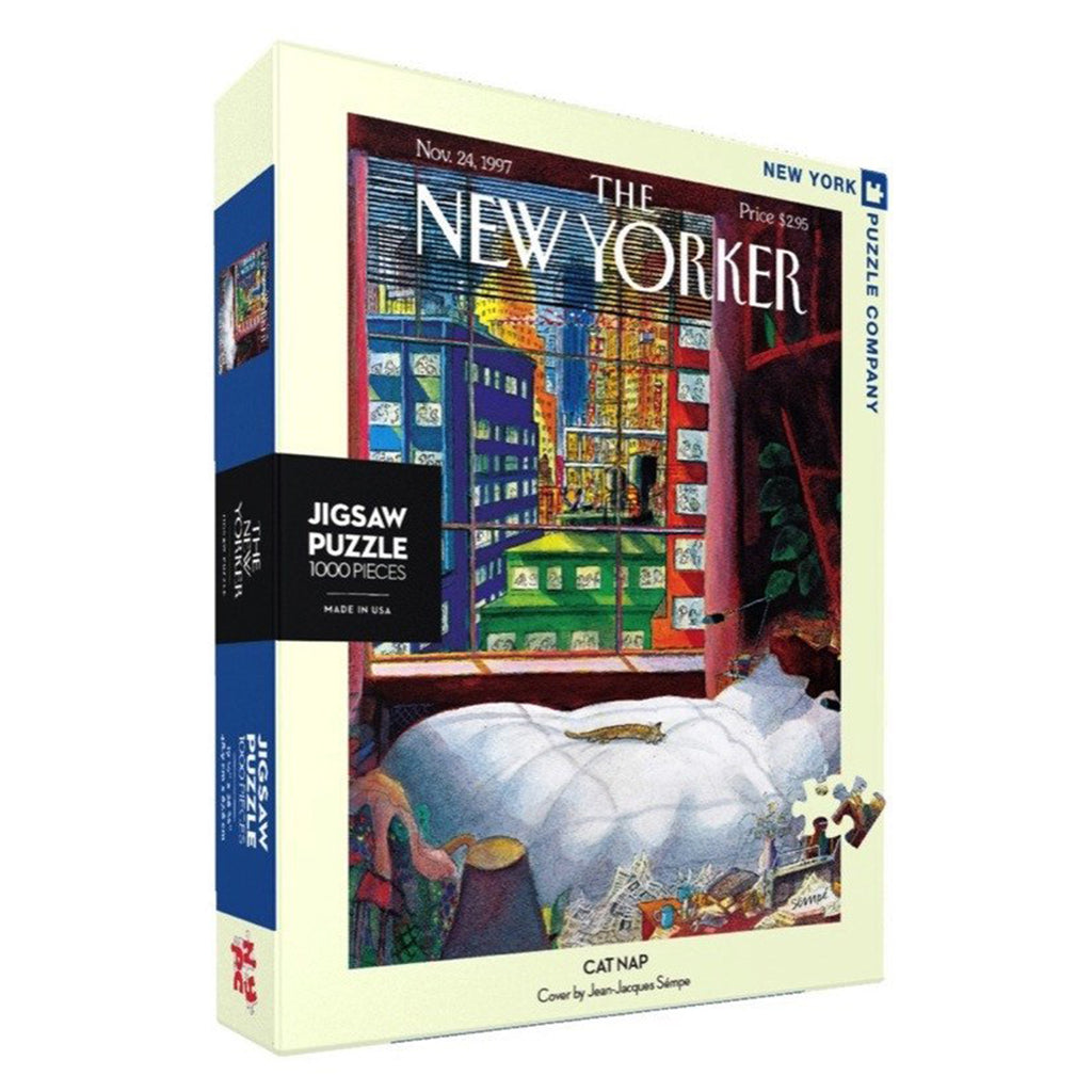 1000 piece new yorker cover cat nap jigsaw puzzle box side