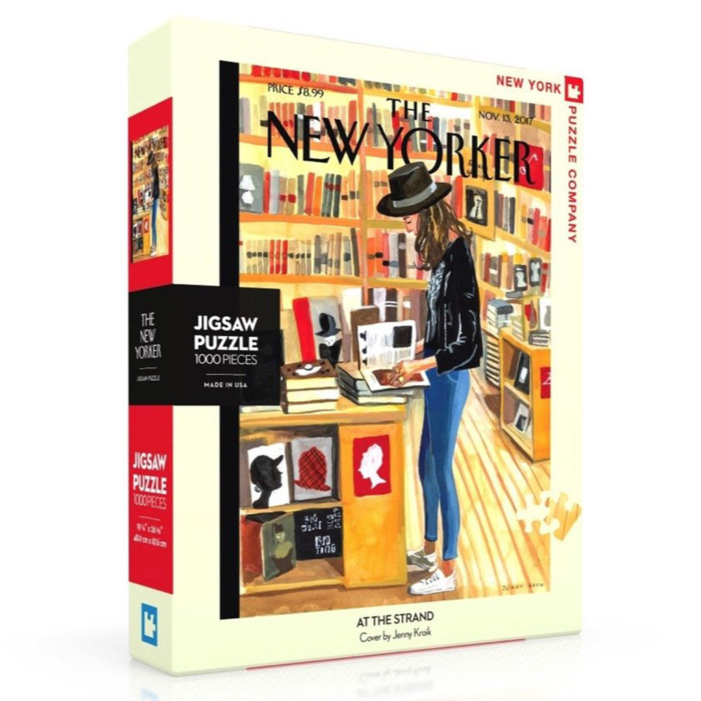 1000 piece new yorker cover at the strand jigsaw puzzle box side
