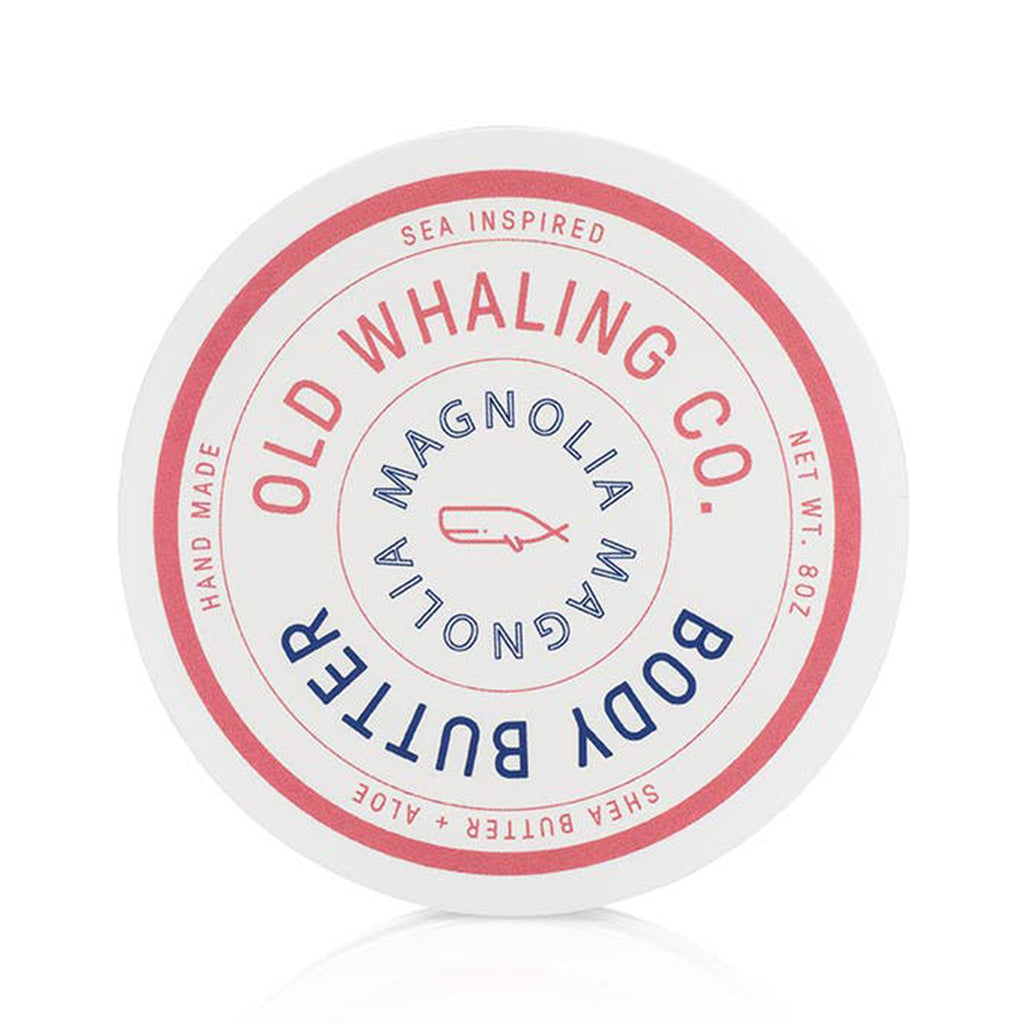 old whaling company magnolia scented body butter moisturizer in packaging