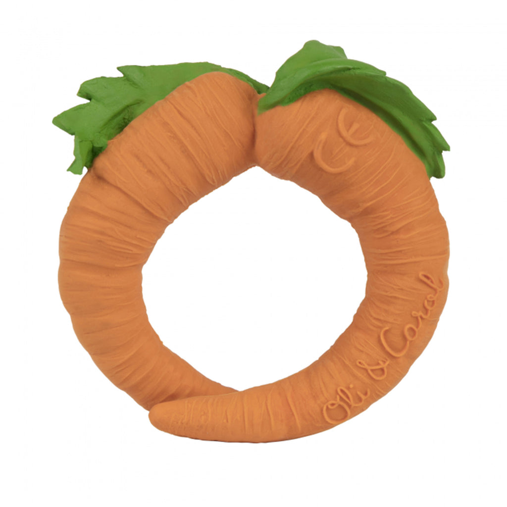oli and carol cathy carrot natural rubber bath toy teether front