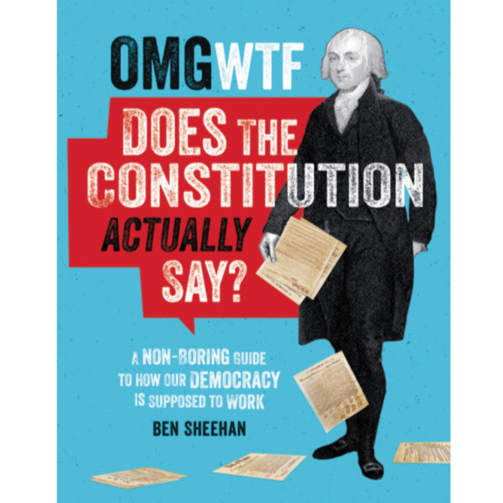 blue book cover with illustration of a founding father dropping pages of the constitution