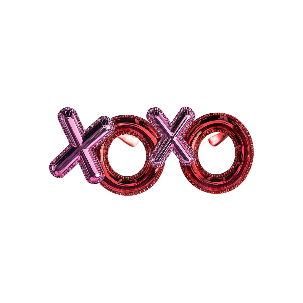 one hundred 80 degrees valentines day accessories xoxo novelty glasses red pink front view