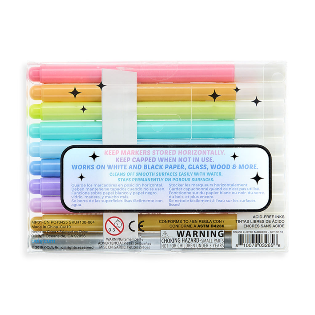 ooly color lustre metallic brush markers set of 10 in packaging back
