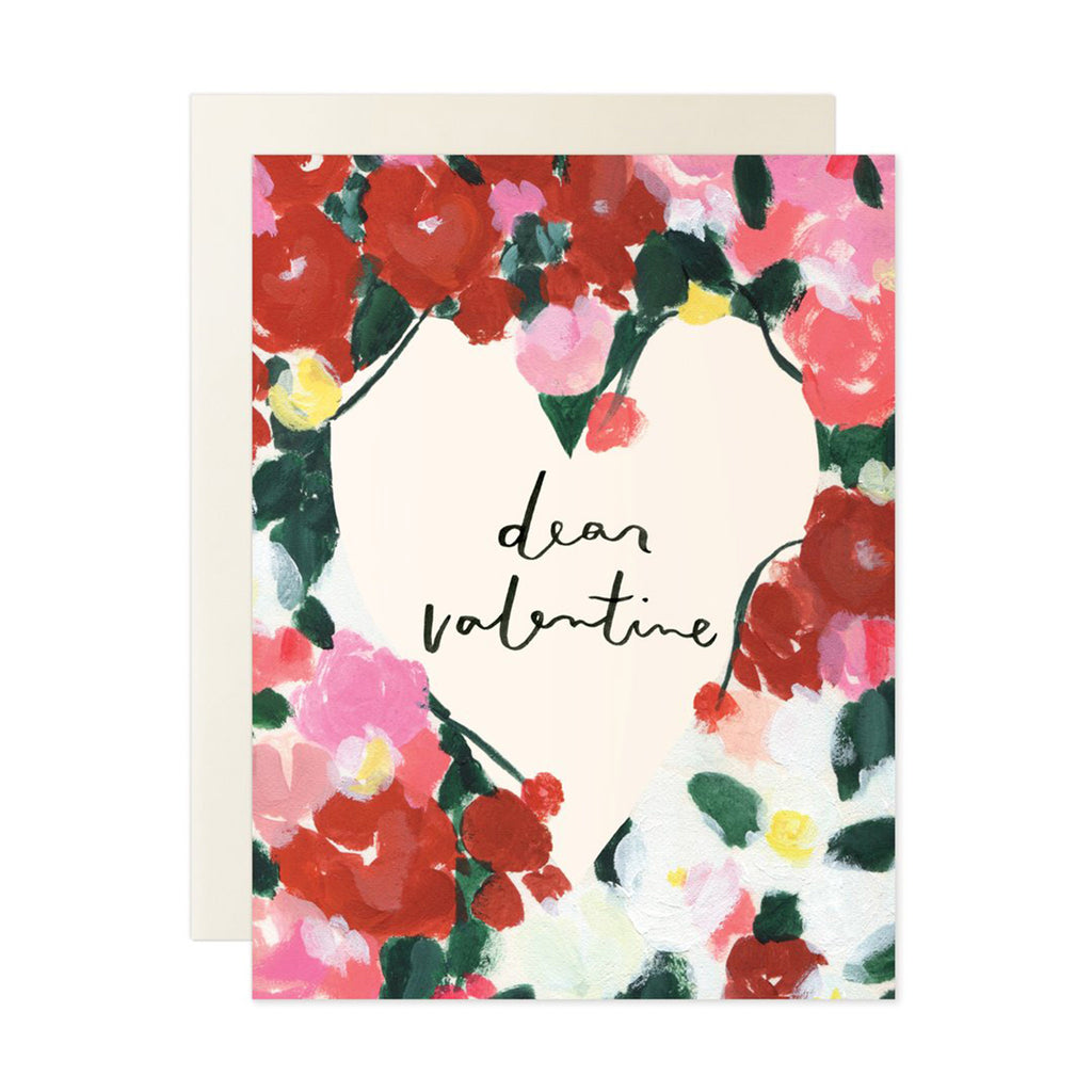 our heiday dear valentine bold floral valentine's day greeting card with envelope