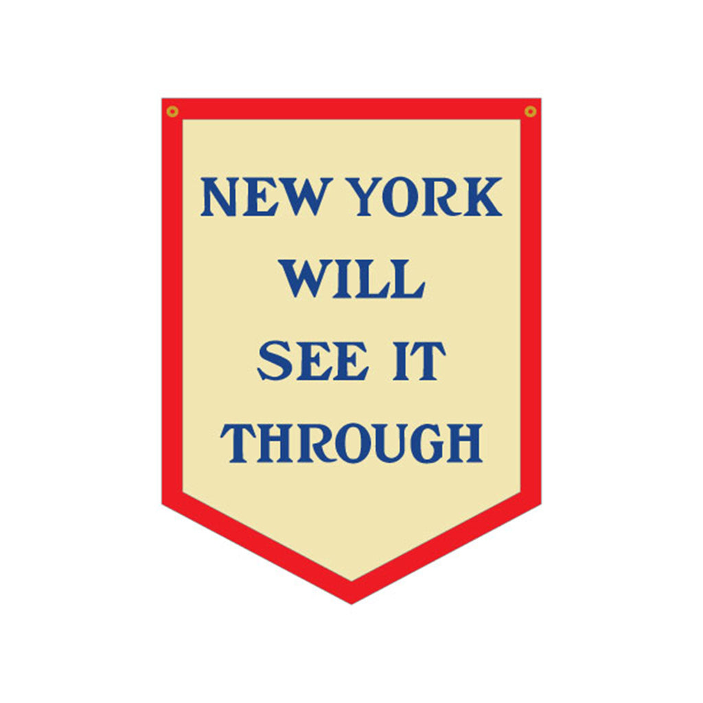 oxford pennant new york will see it through hanging decorative camp flag wall decor mockup