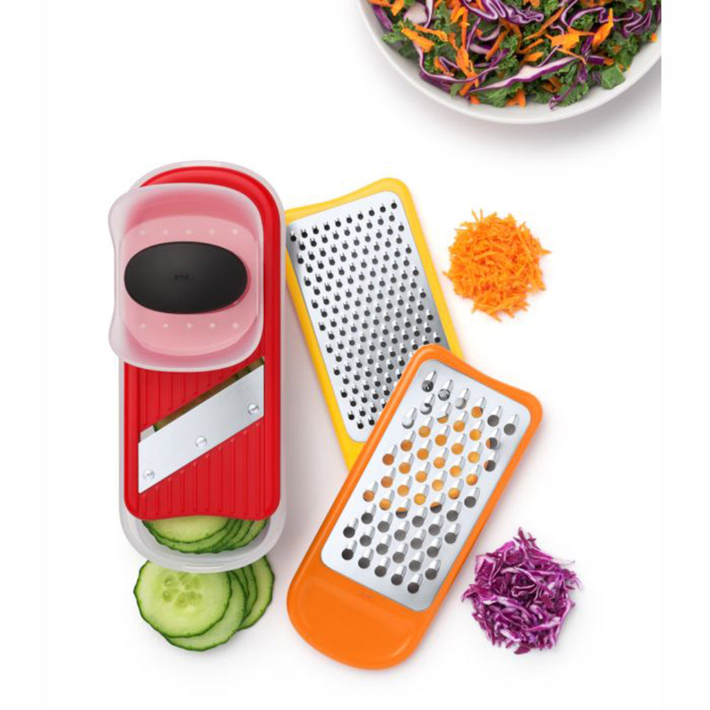 oxo good grips mini grate & slice set of three kitchen tool with vegetables