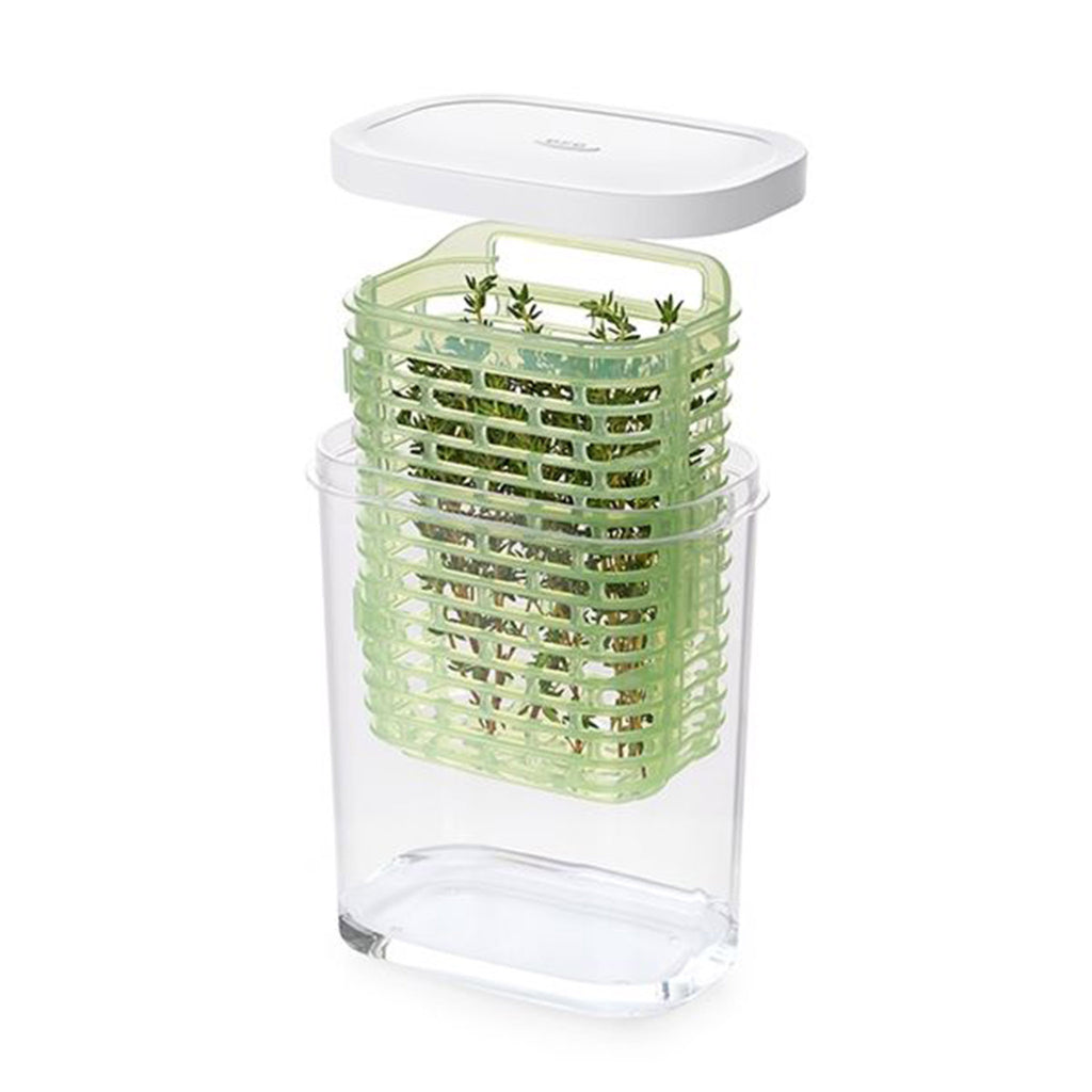 oxo good grips small greensaver herb keeper kitchen storage with rosemary