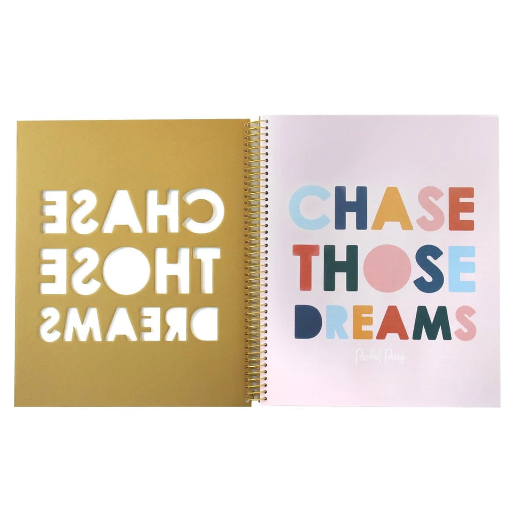 chase those dreams glitter gold notebook inside cover