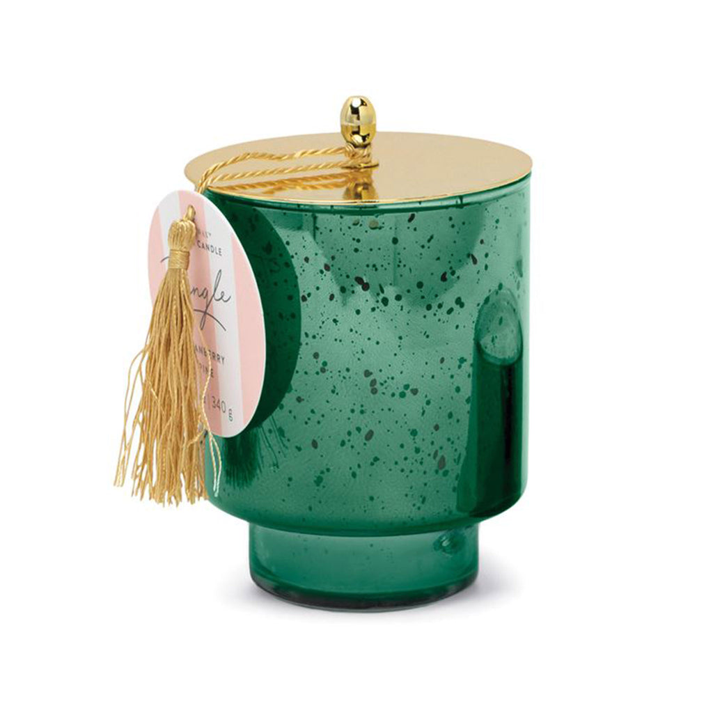 paddywax holiday limited edition tinsel cranberry pine scented soy wax candle in green mercury glass vessel with tassel and tag