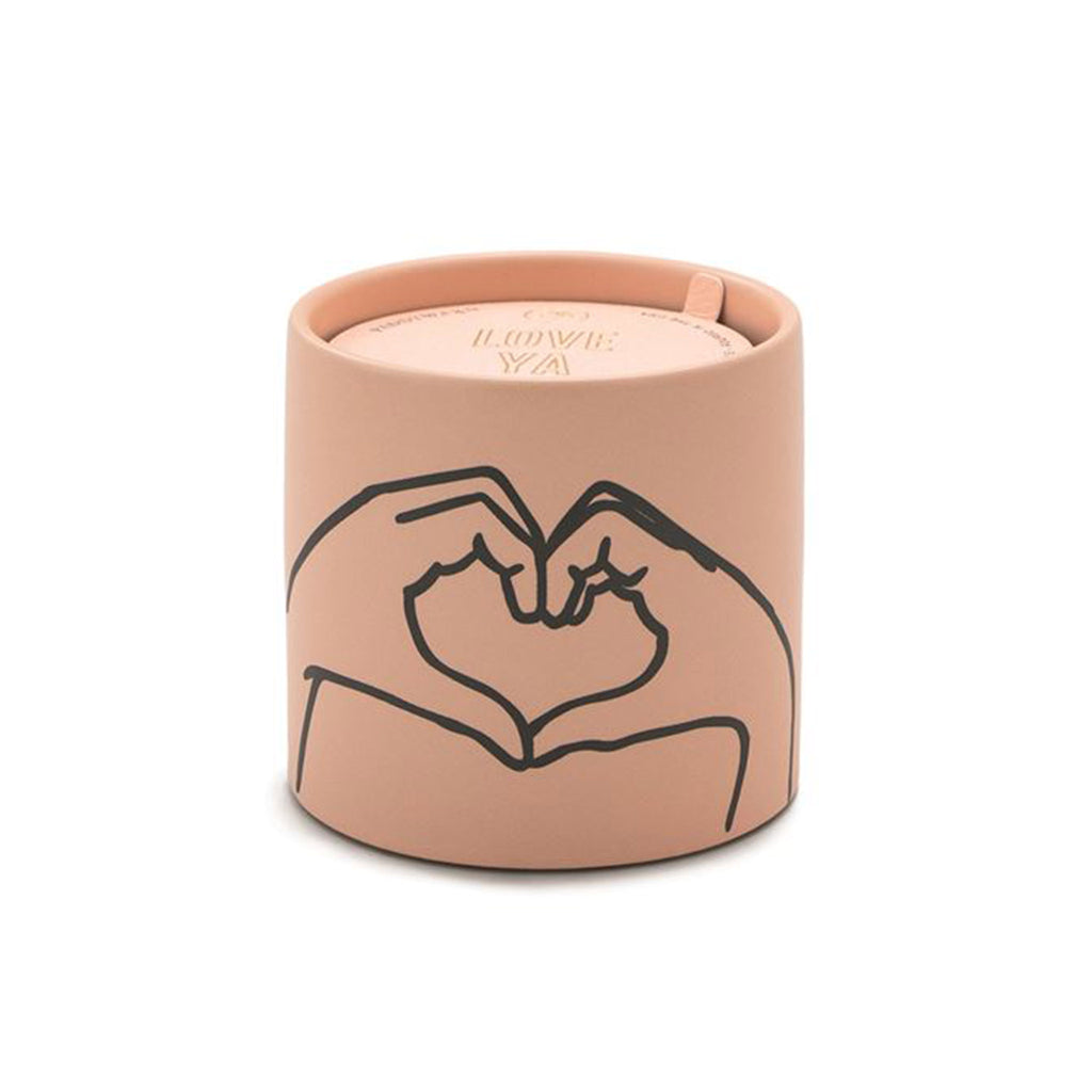 paddywax impressions 5.75 ounce heart love ya tobacco vanilla scented soy candle in matte dusty pink ceramic vessel