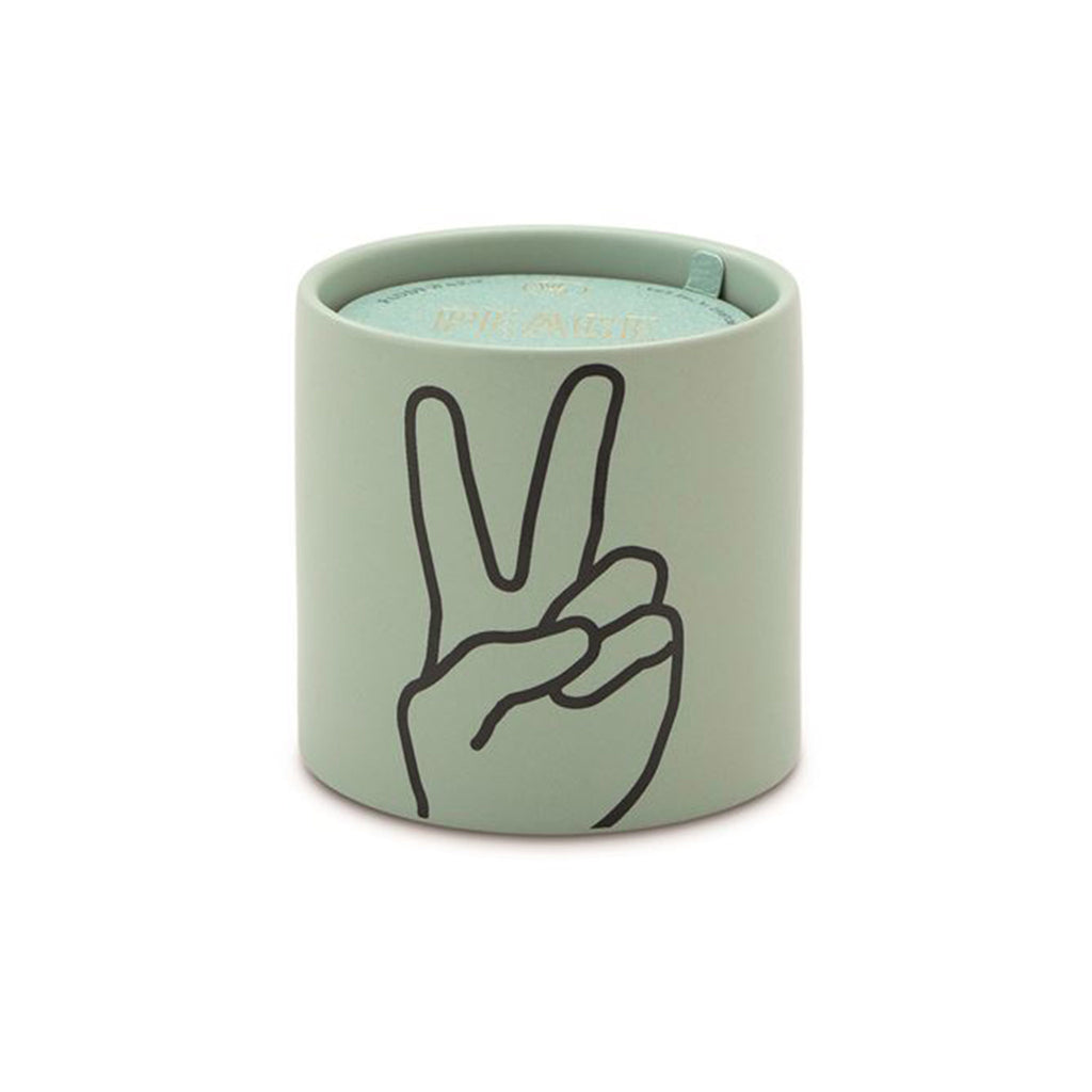 paddywax impressions 5.75 ounce peace lavender and thyme scented soy candle in matte mint green ceramic vessel
