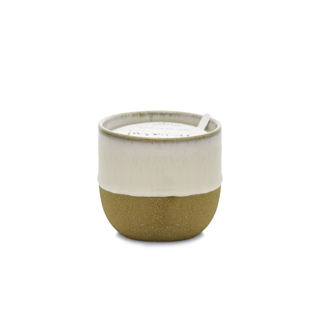 paddywax kin 6 ounce jasmine bamboo scented soy wax candle in raw ceramic vessel with white dripped reactive glaze