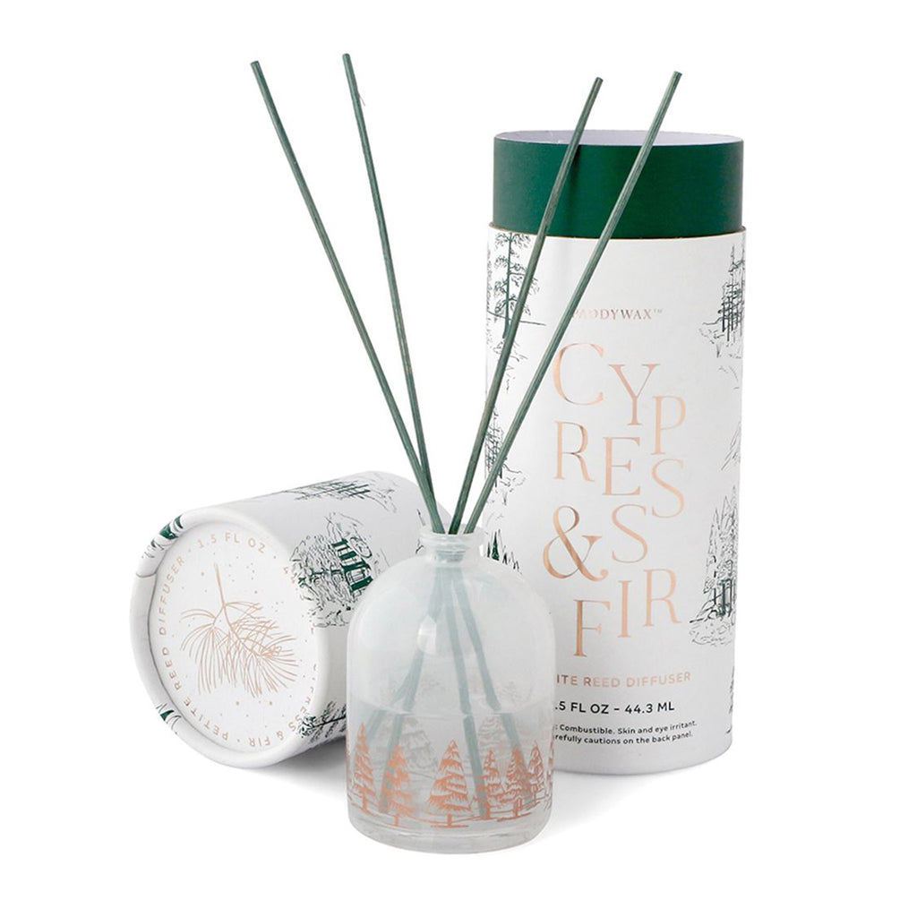 paddywax petite reed cypress & fir scented diffuser with white milky glass bottle and packaging