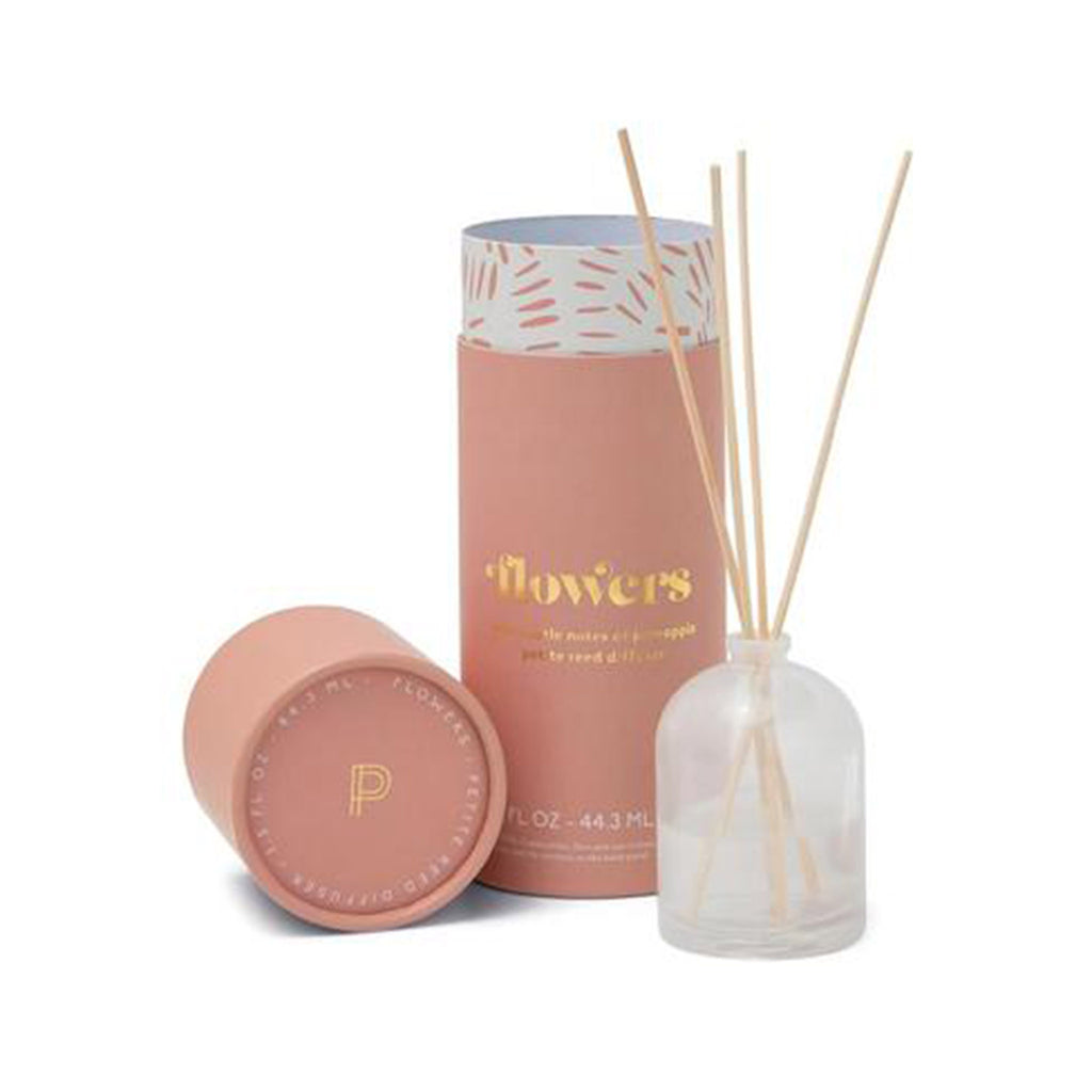 paddywax petite reed scented diffuser in flowers with white milky glass bottle and tube packaging