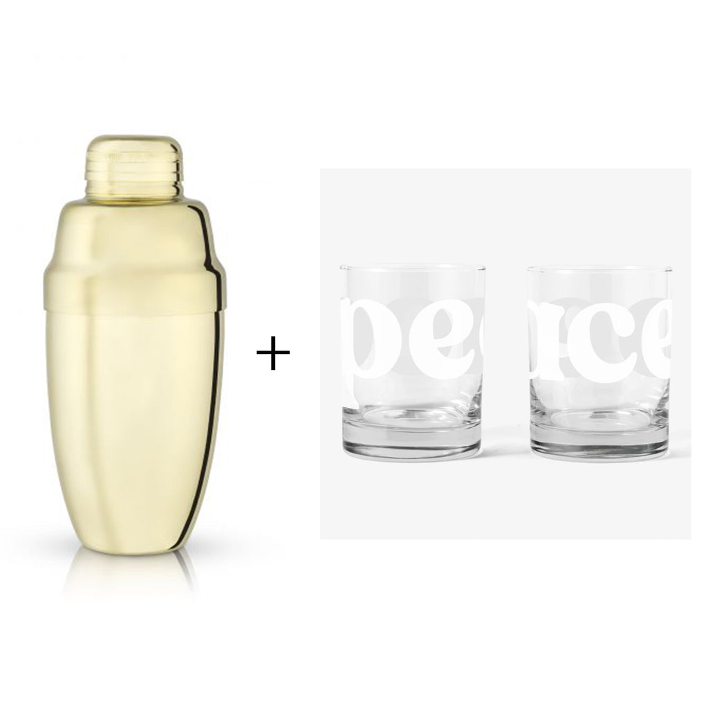peaceful eve gift box with gold heavyweight cocktail shaker and peace double old fashioned set of two glasses