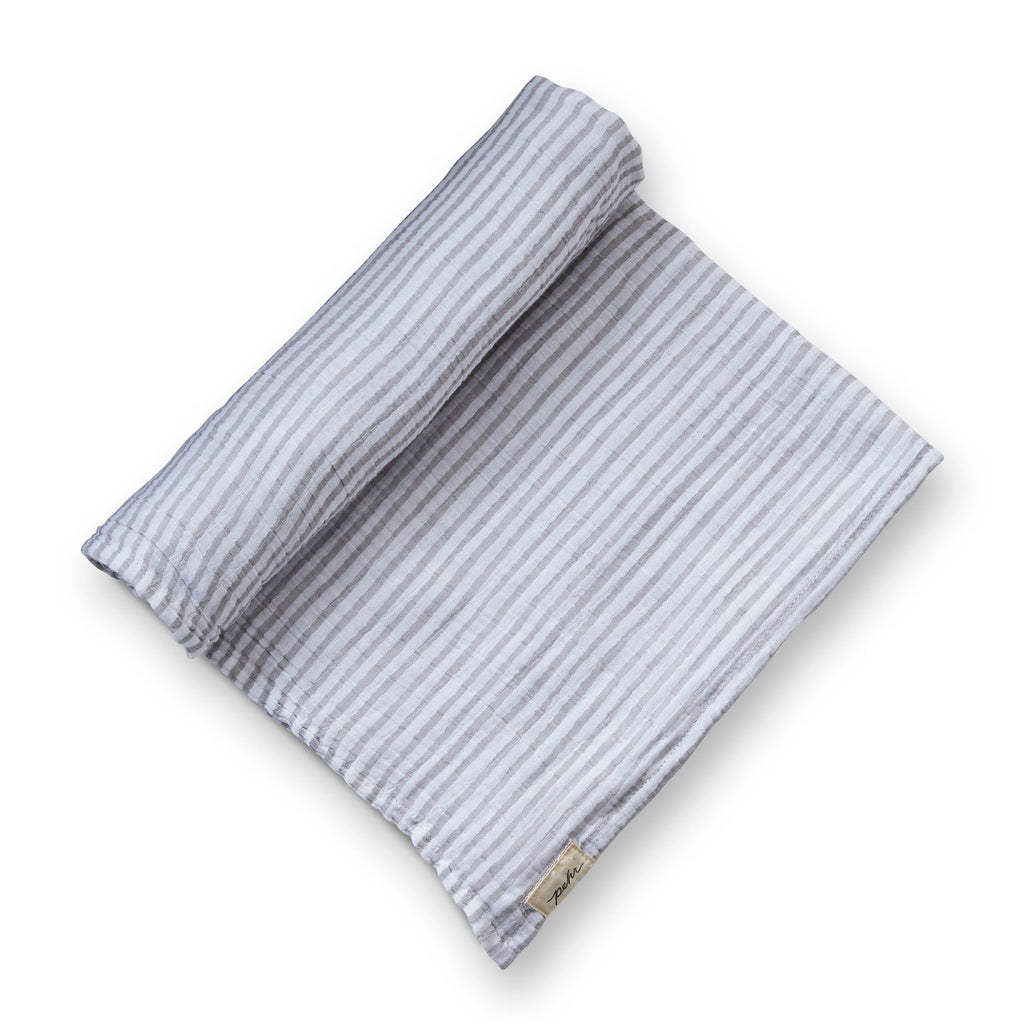 pehr pebble gray striped swaddle