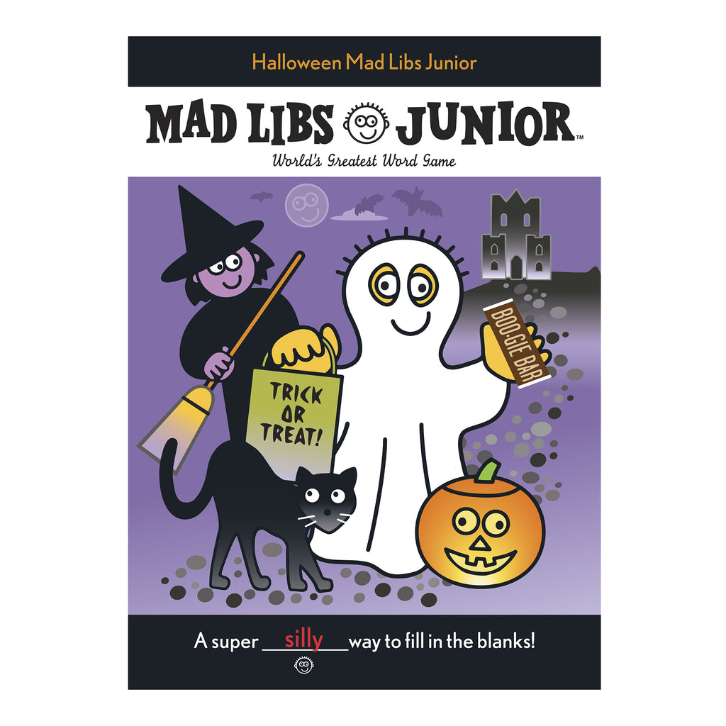 penguin random house halloween mad libs junior book cover with ghost witch cat pumpkin