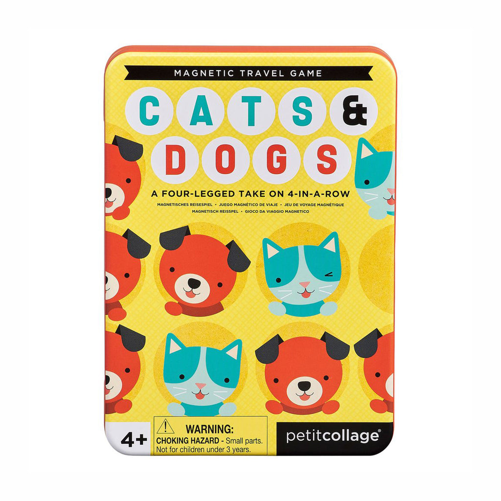 petit collage cats dogs four in a row magnetic kids travel game front of tin