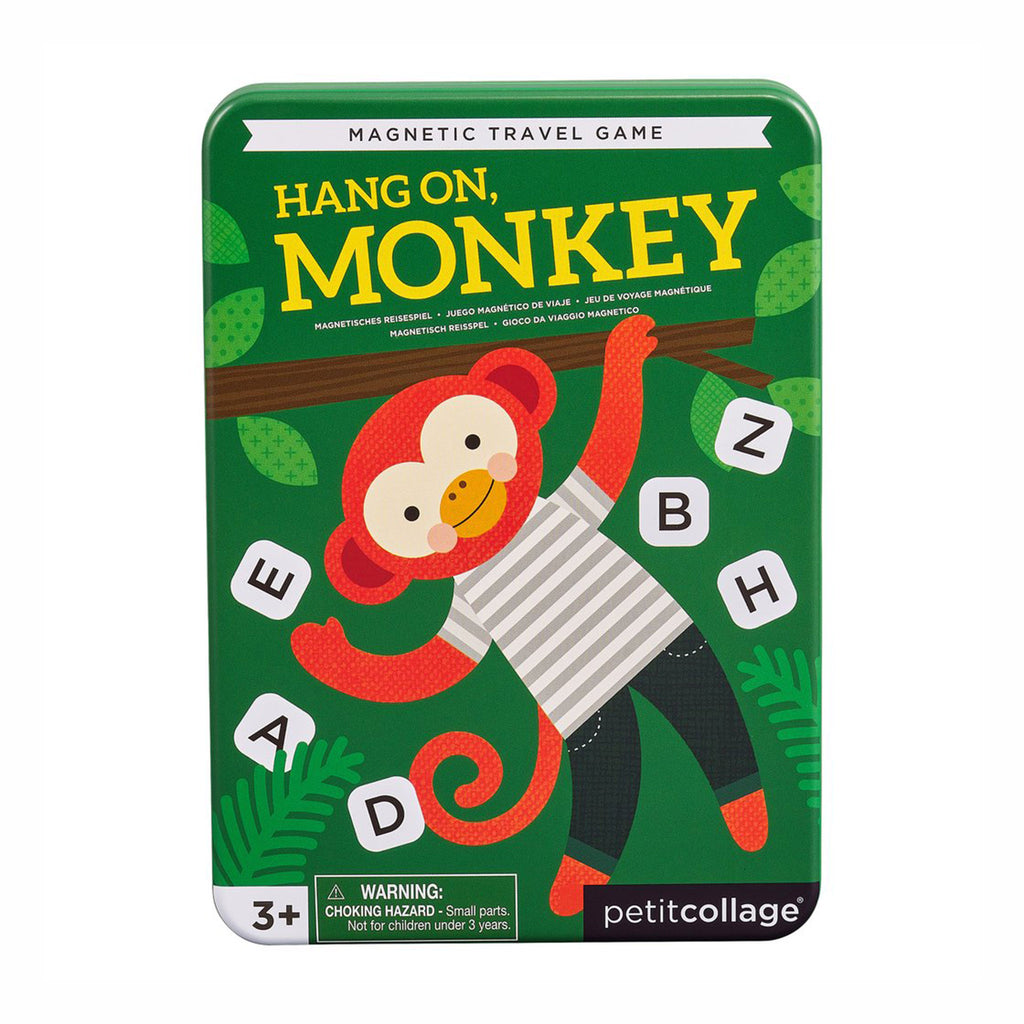 petit collage hang on monkey word guessing magnetic kids travel game front of tin