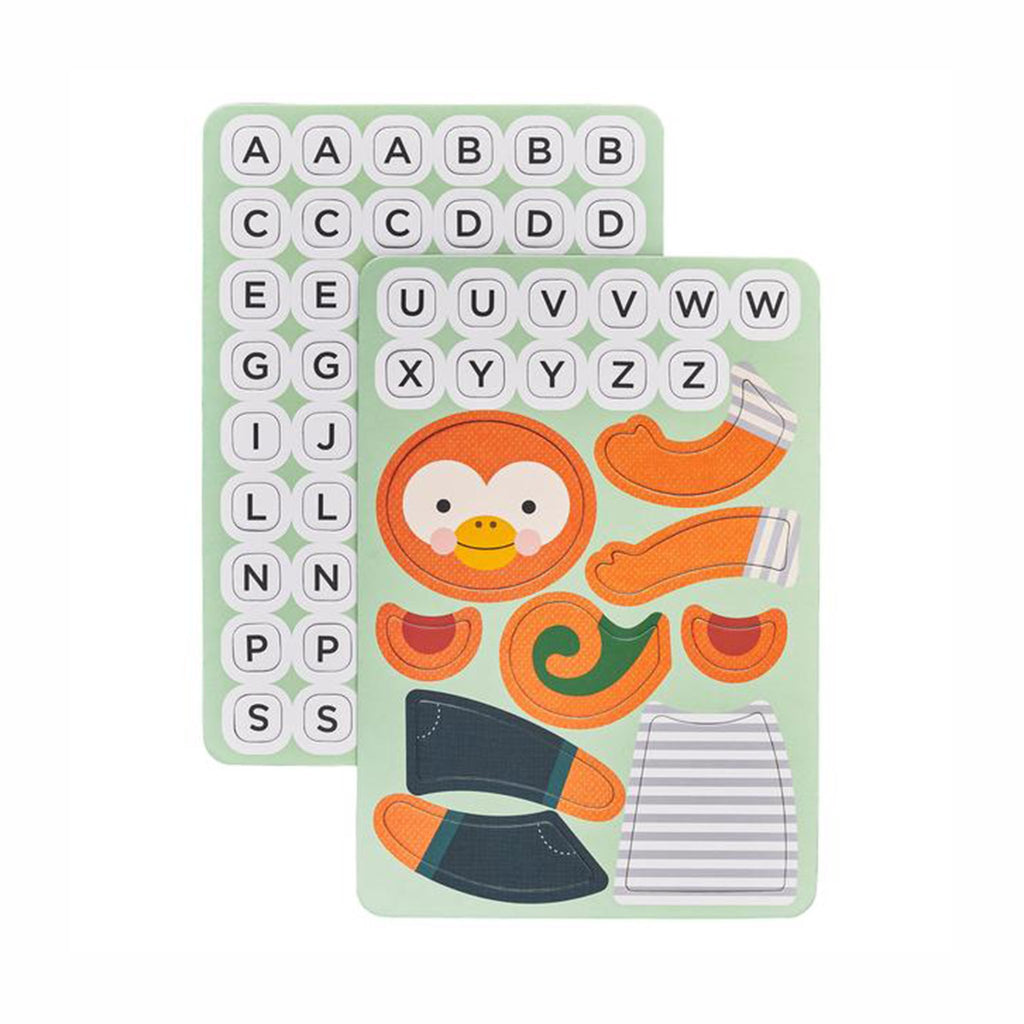 petit collage hang on monkey word guessing magnetic kids travel game pieces