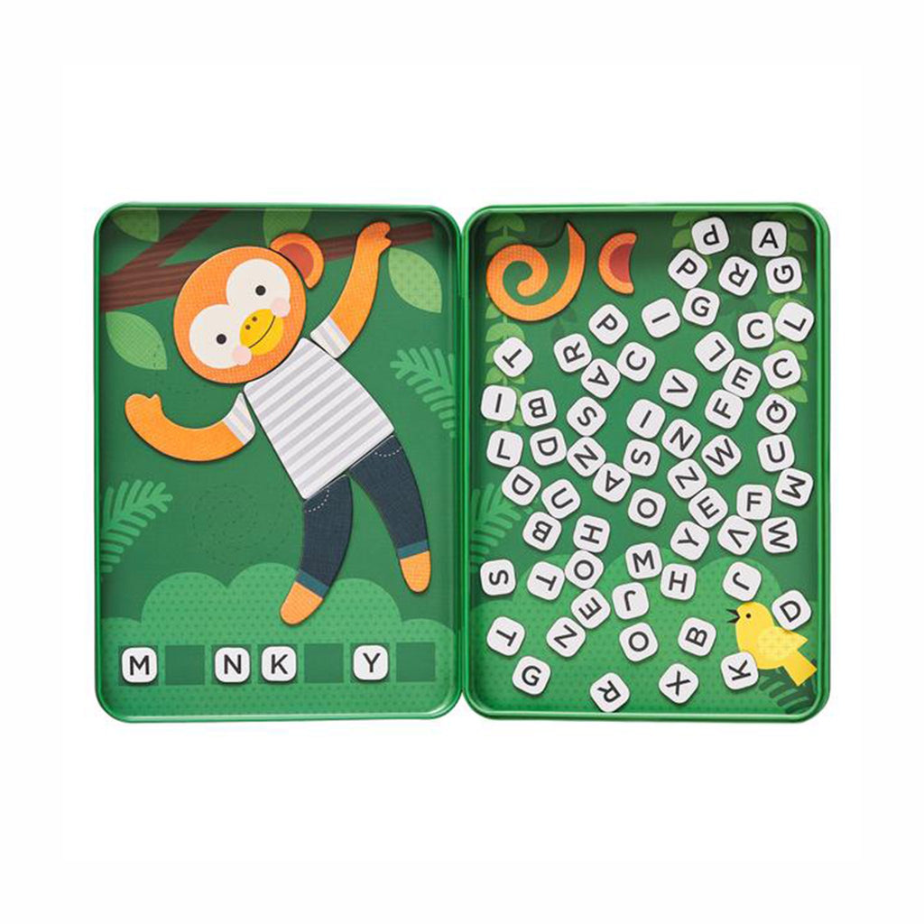 petit collage hang on monkey word guessing magnetic kids travel game tin open game in play