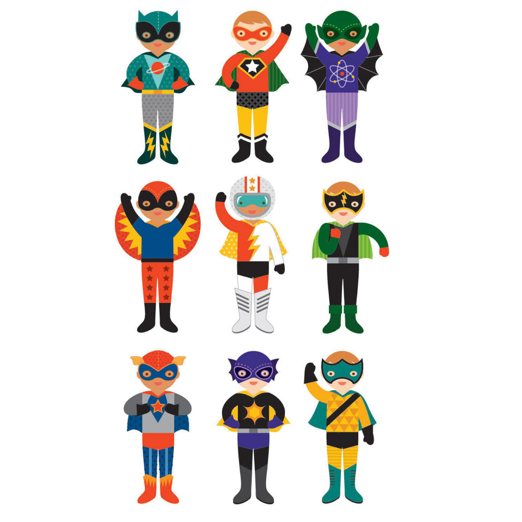 petit collage superheroes magnetic costume builder dress up kids playset outfit options