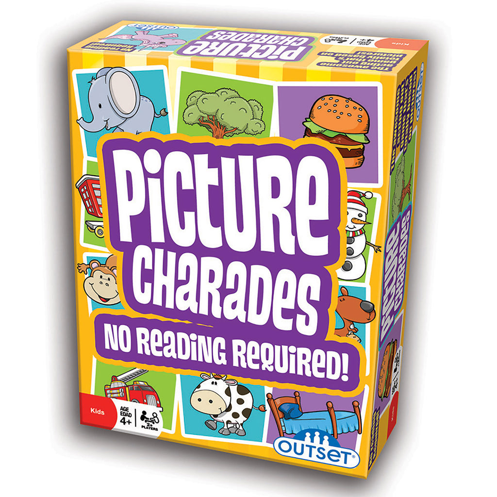 illustrated picture charades box with sample cards showing animals, food, and household objects