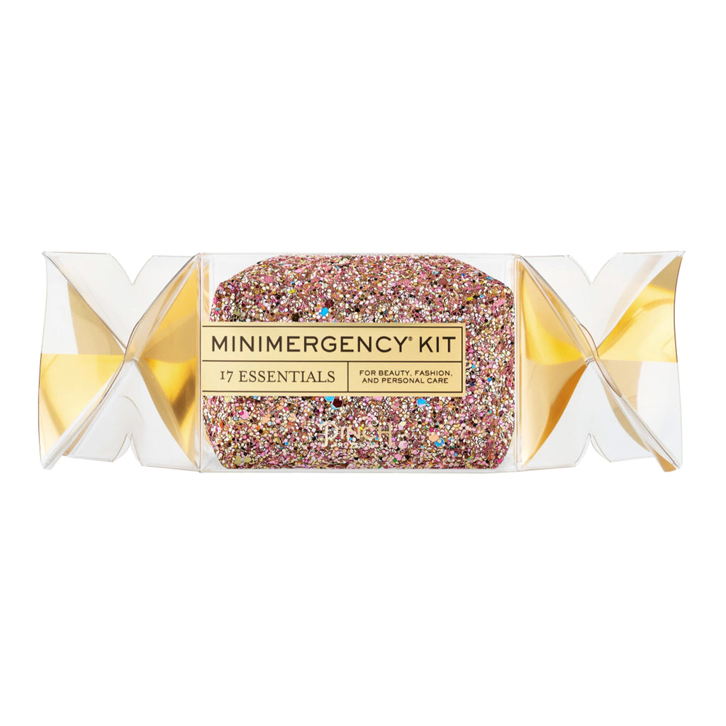 pinch provisions holiday cracker minimergency kit in rose gold multi glitter packaging