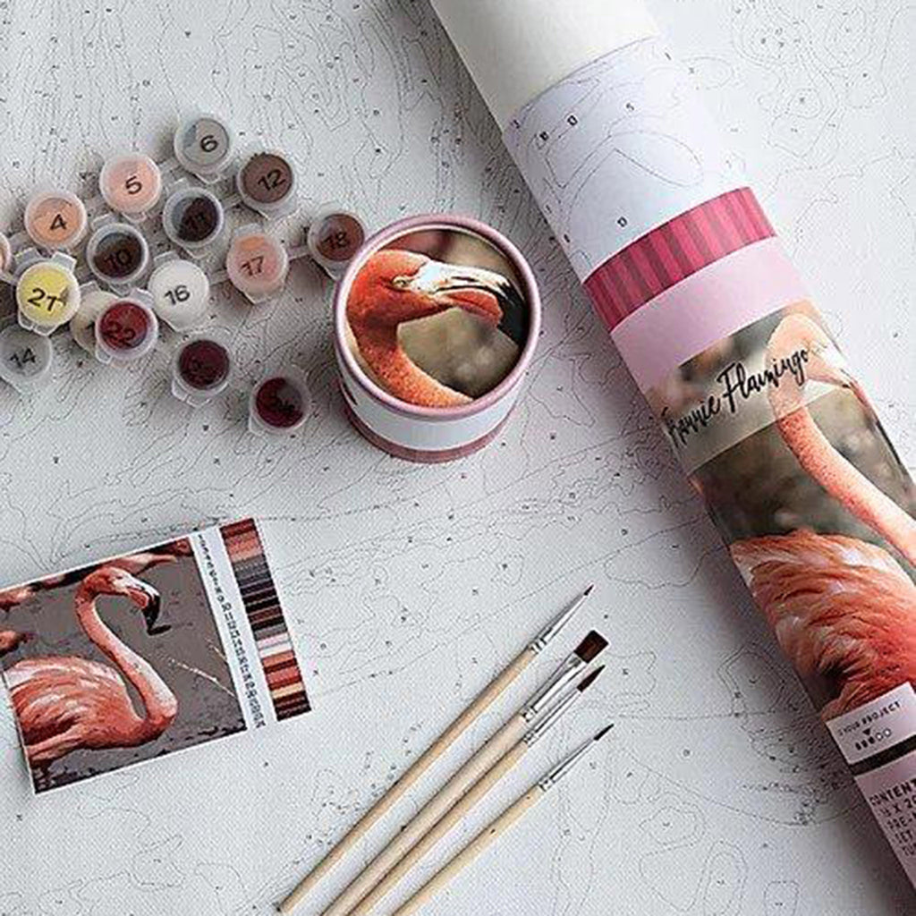 pink picasso frannie flamingo paint by number adult diy craft kit packaging with contents