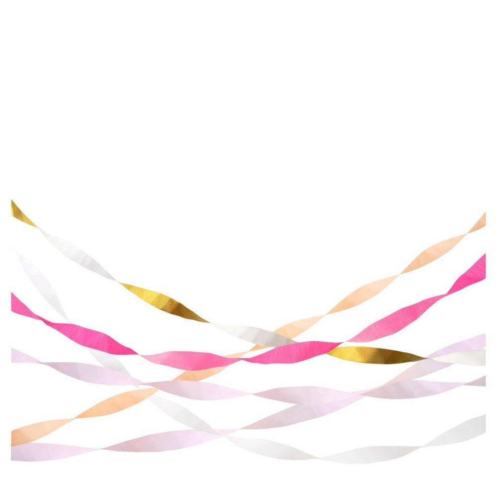 detail of open crepe paper streamers in shades of pink, gold, and white