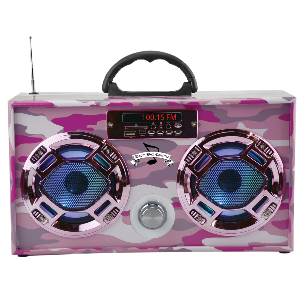 mini pink camouflage boom box radio with bluetooth