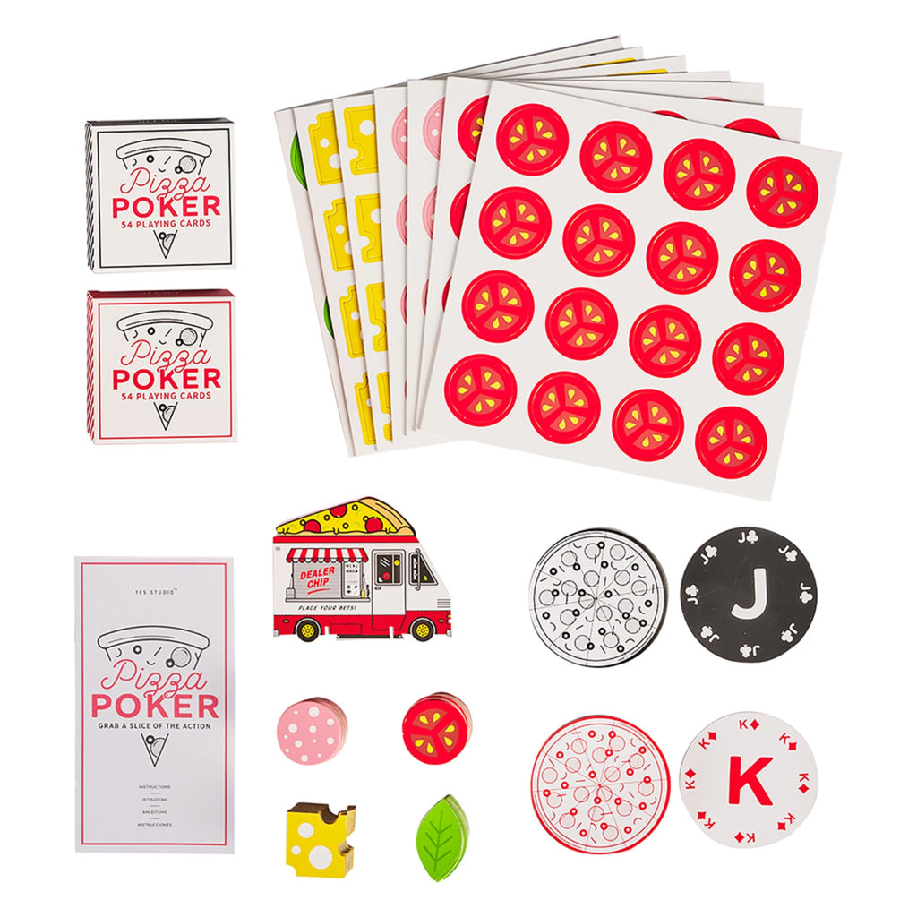 pizza themed poker set of round pizza playing cards, toppings chips, and pizza truck dealer chip