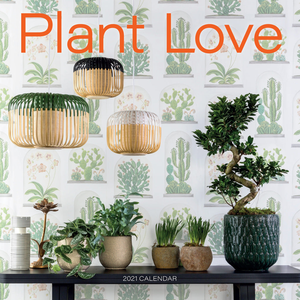 plant love calendar cover with photograph of plants in front of wallpaper with plant illustrations