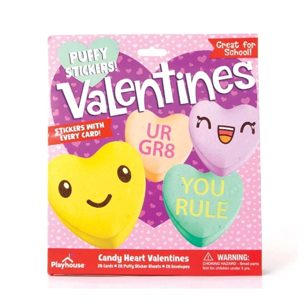 playhouse candy heart puffy sticker valentine's day cards in packaging